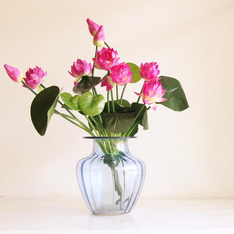 仿真荷花 莲花 花 荷叶 客厅落地摆设假花塑料花睡莲花装饰花