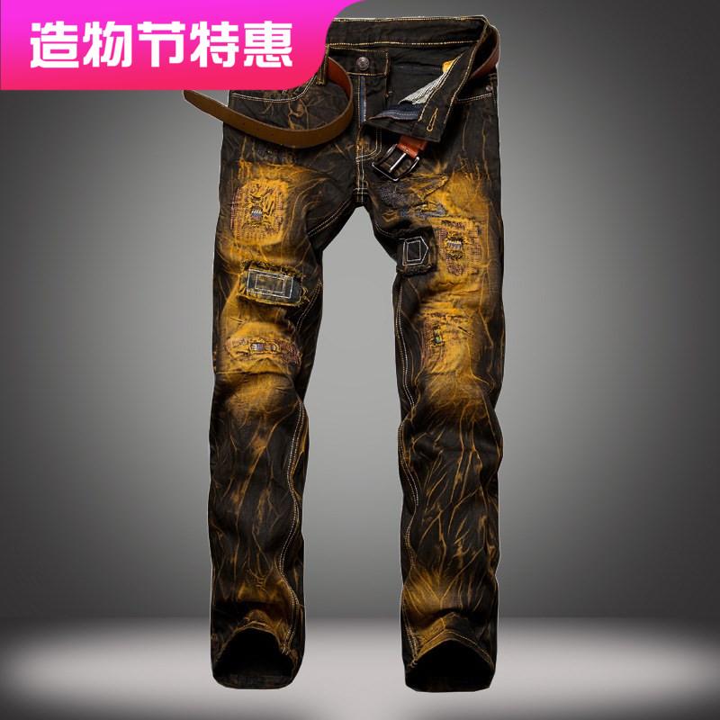 男式破洞做旧牛仔裤 Ripped skinny straight leg jeans for men