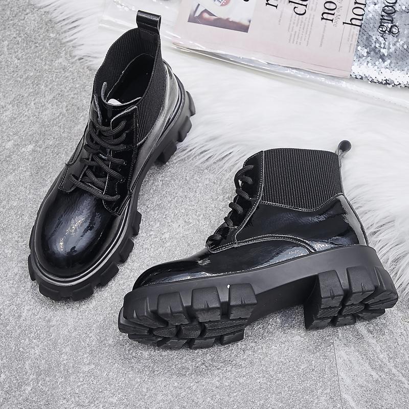 马丁靴女新款百搭英伦风秋冬季黑色厚底增高漆皮短靴二棉鞋2019