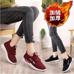 老北京冬季保暖女鞋中老年旅游加绒棉鞋潮休闲妈妈防滑轻便运动鞋