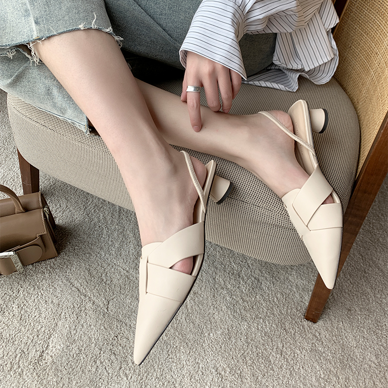 2020 new semi Baotou sandals, fairyland style leather all-around middle heel high-heeled shoes, INS trendy pointed thick heeled shoes