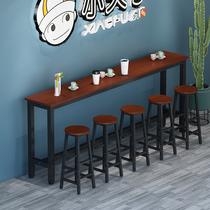靠墙吧台桌家用简易阳台吧台长方形餐桌高脚桌椅组合长条桌窄桌子