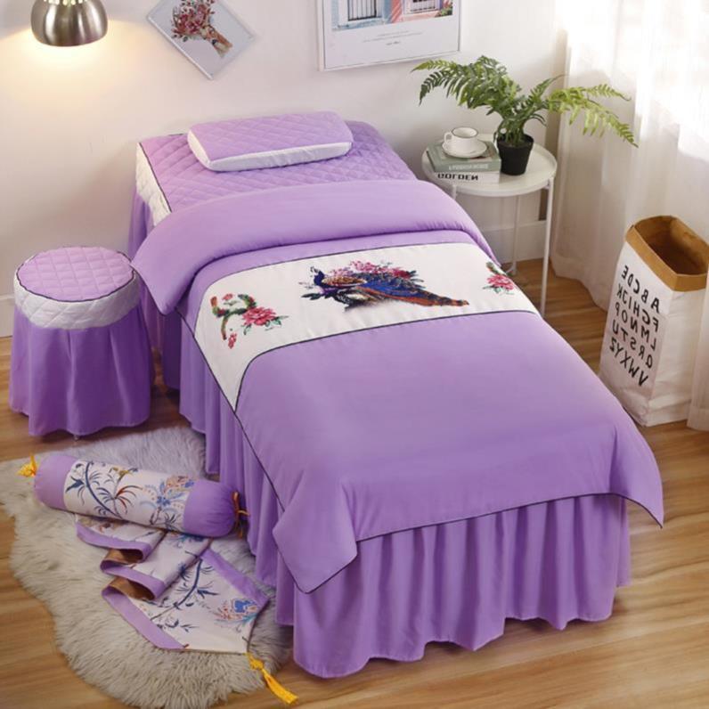 套四件套欧式个性灰色床头罩美体床美容床罩按摩院纯色梯形裙式。