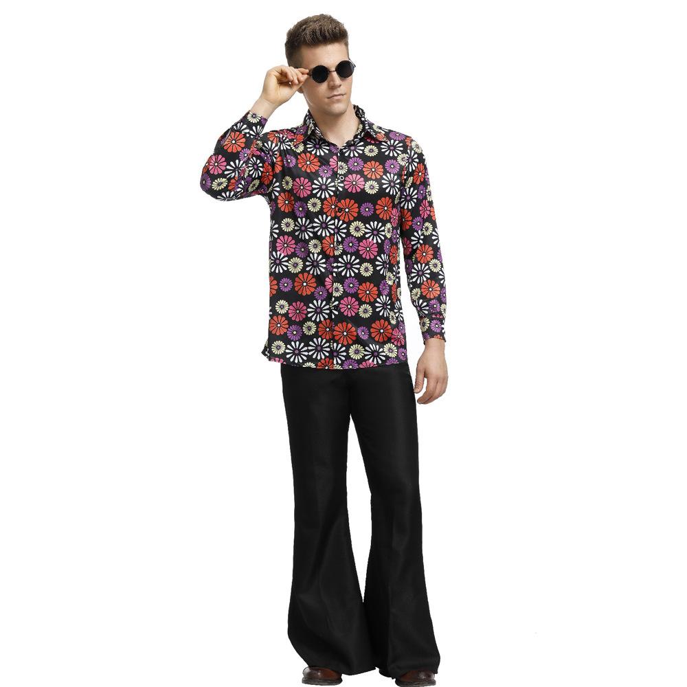 ヒッピーのhippieが出演服復古迪70年代斯科服装ハロウィン化粧舞踏会服装男