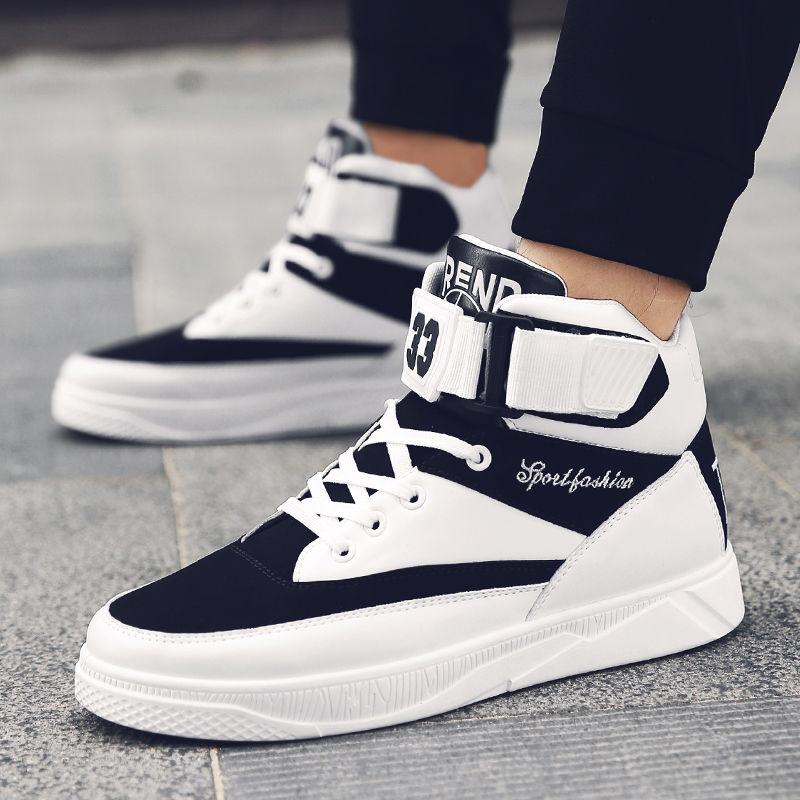 流行男鞋冬季新款小白鞋男生百搭青年跑步鞋时尚休闲高帮鞋保暖