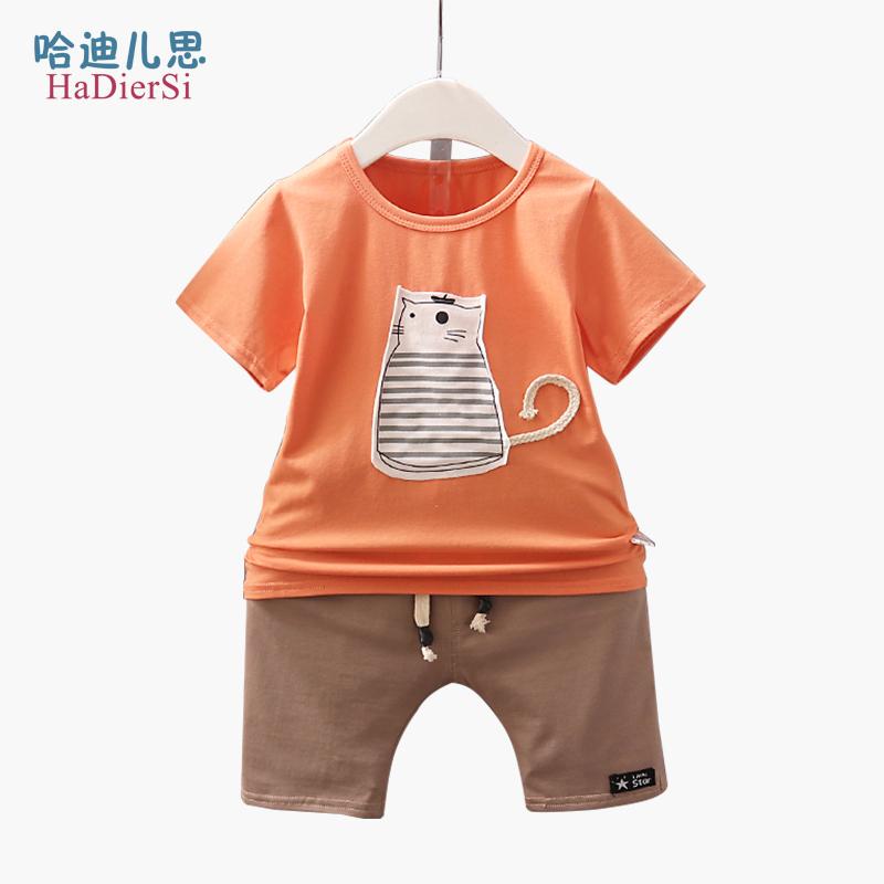 男童夏装2019新款男孩帅气潮洋气童装套装1-3岁男宝宝韩版T恤套装
