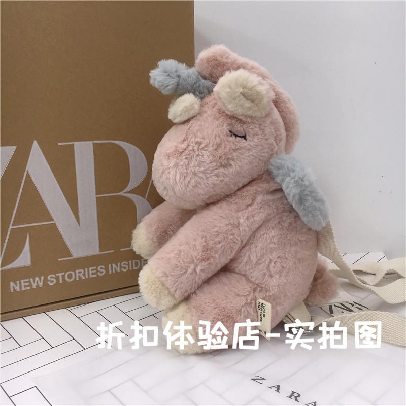 热销22件有赠品zara wang卡通毛绒独角兽女包
