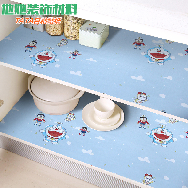 Cabinet paper self adhesive waterproof sticker moisture proof drawer pad kitchen oil proof kitchen cabinet wardrobe cartoon self adhesive wallpaper