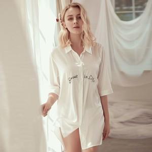 睡裙女中长袖款雪纺2021年新款睡衣