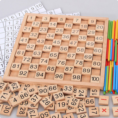 Wooden hundred number board Montessori mathematics Montessori early education teaching aids 1-100 continuous number board digital learning toys