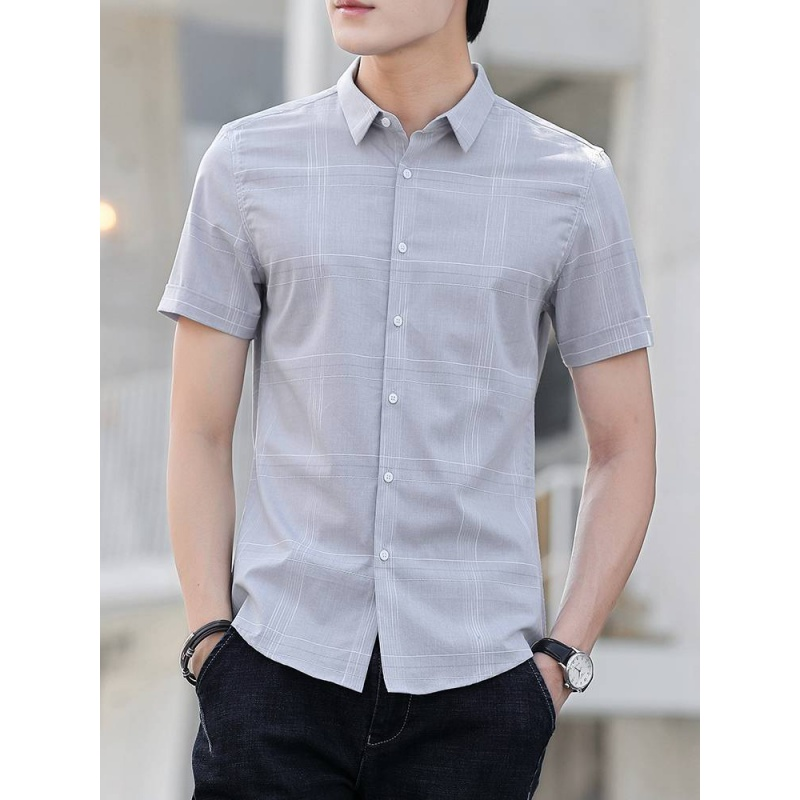 Summer Plaid Shirt Mens short sleeve trend Korean handsome slim youth thin casual mens half sleeve inch shirt