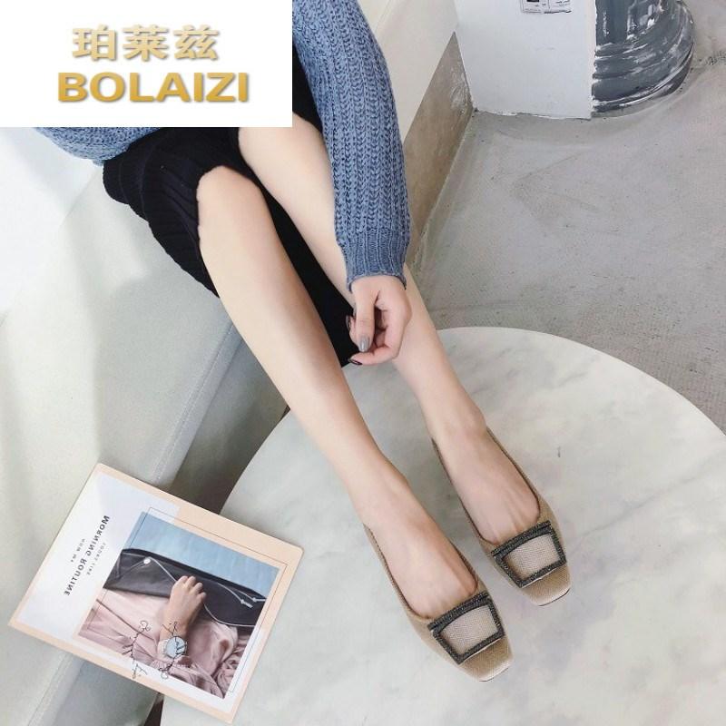 2019夏季方头特殊料鞋欧美金属钻方扣内里绒温州女鞋shoes women,
