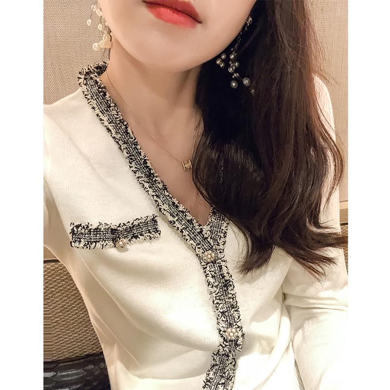 梵阁2020年秋季新款法式优雅经典小香风v领羊毛针织开衫外套女