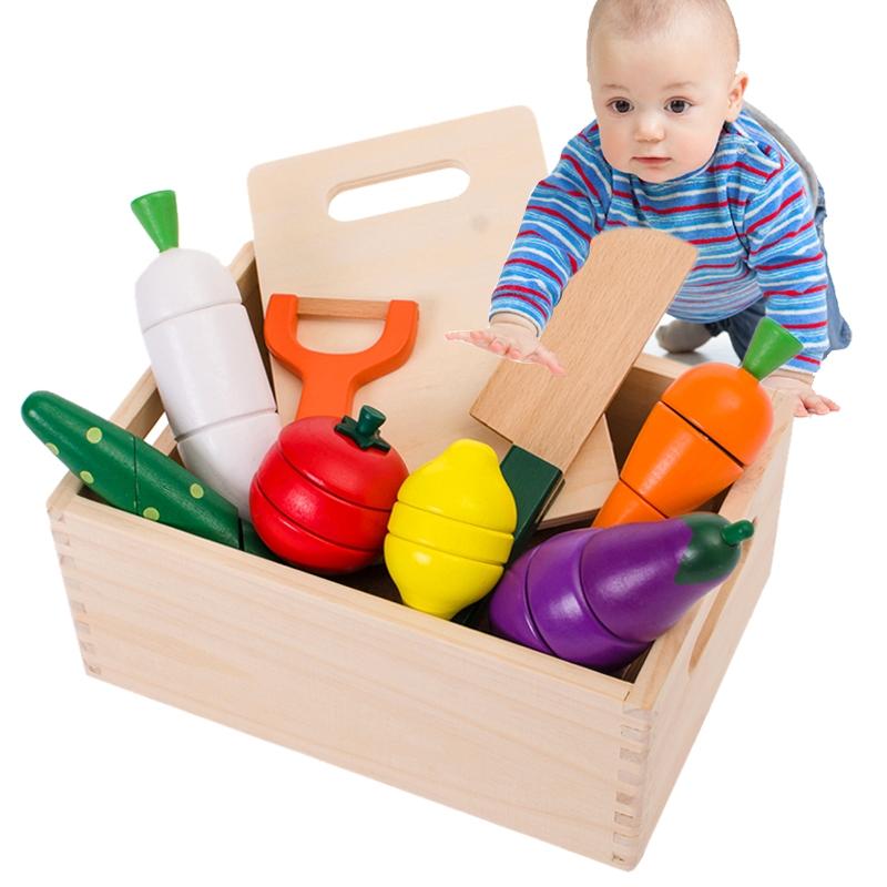 宝宝切水果玩具木制水果蔬菜切切看磁性儿童过家家厨房玩具1-3岁,可领取5元天猫优惠券