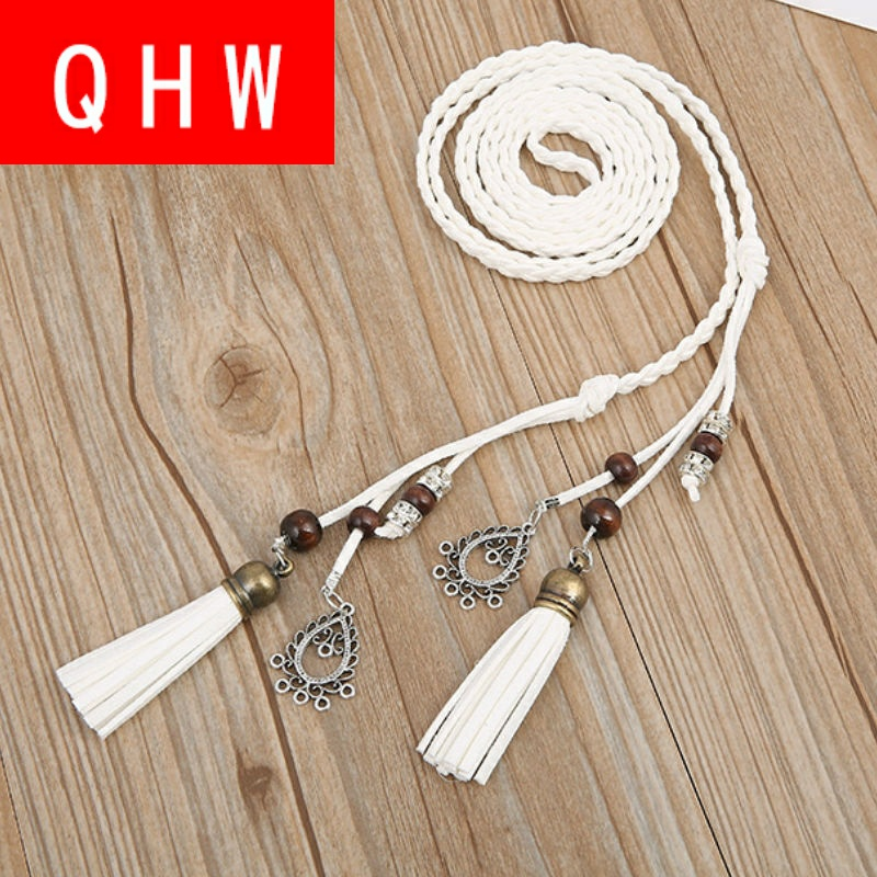 Womens decorative thin belt hand woven waist rope simple dress accessories fringe waist chain spring and autumn lengthening
