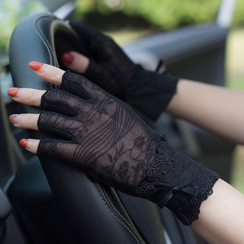China summer driving half finger open finger lady spring summer autumn thin lace sun proof gloves anti slip short cycling