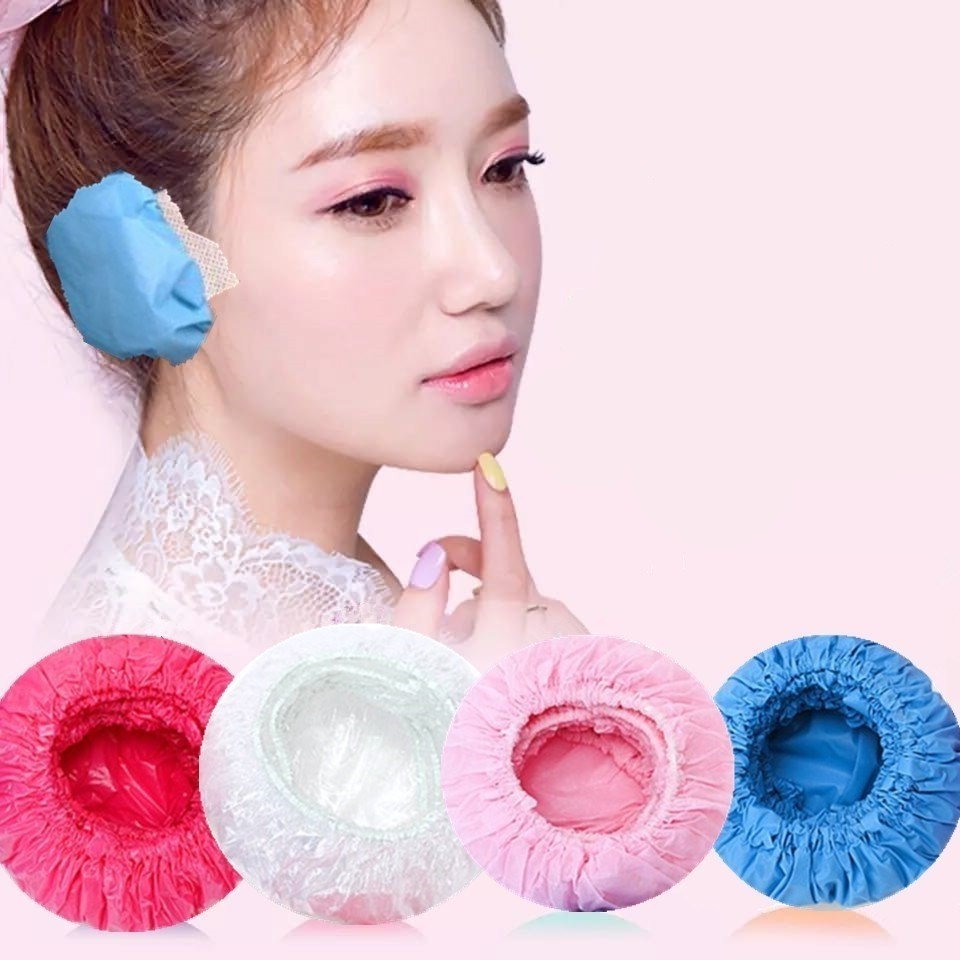Disposable waterproof earmuff earmuff Cosmetology Hair Dyeing earmuff shampoo bath make ear hole to prevent water from entering the ear