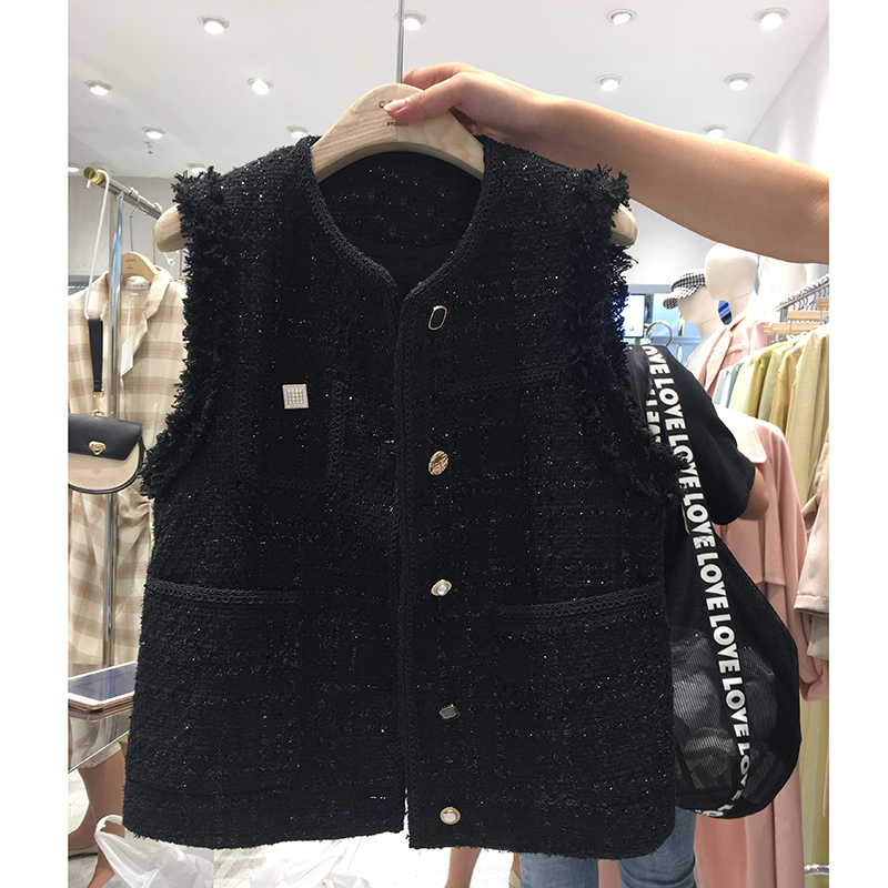 Small fragrant vest women 2020 new fashion spring and autumn tweed shoulder coat Korean version sleeveless top vest vest clip