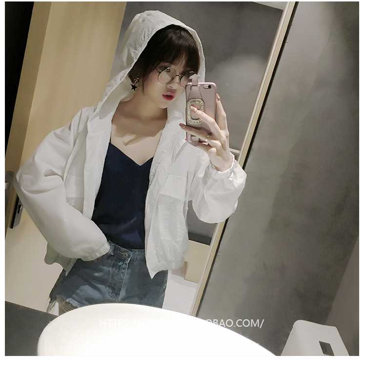 Sunscreen womens short summer 2019 new student versatile thin sunscreen clothing breathable hooded cardigan jacket