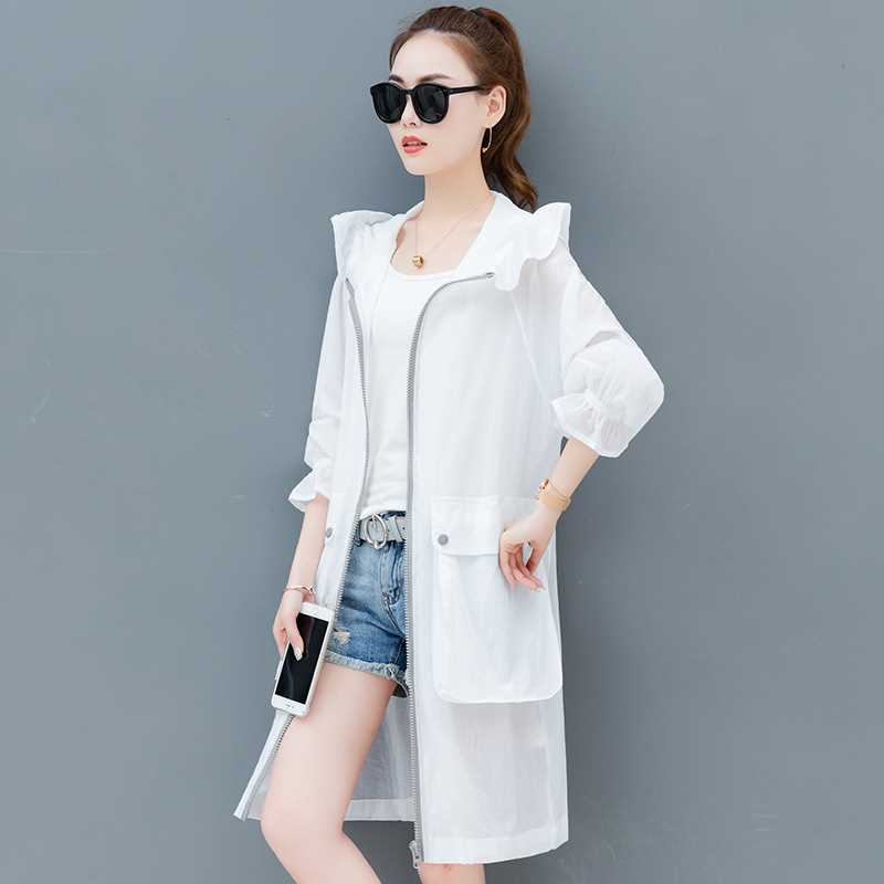 Sunscreen womens medium and long-term 2019 summer new UV proof loose and breathable sunscreen cardigan thin coat