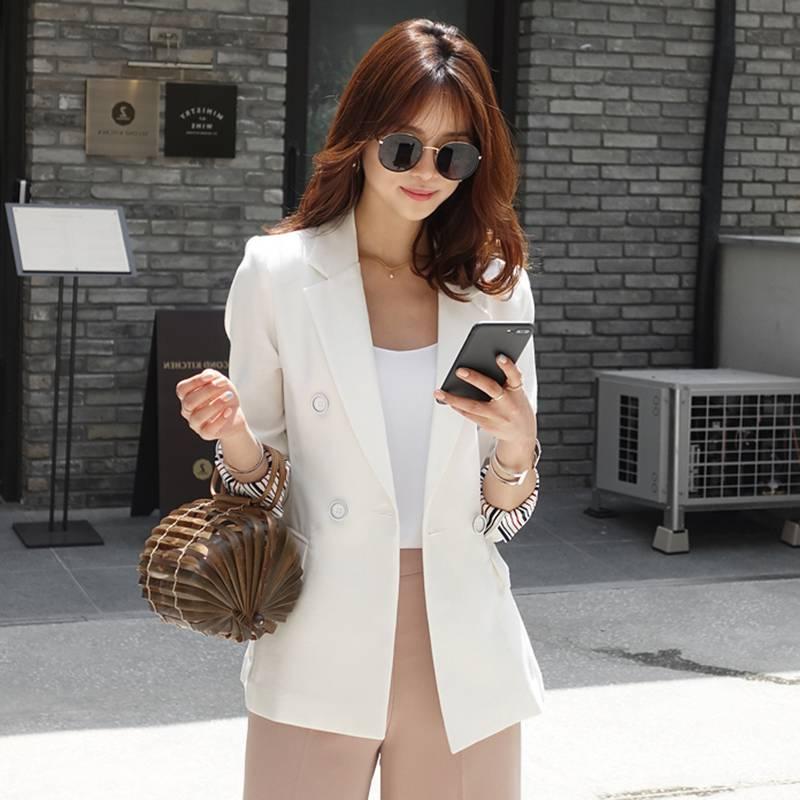 白色小西装外套女 2020新款女士春秋装韩版修身显瘦休闲长袖西服