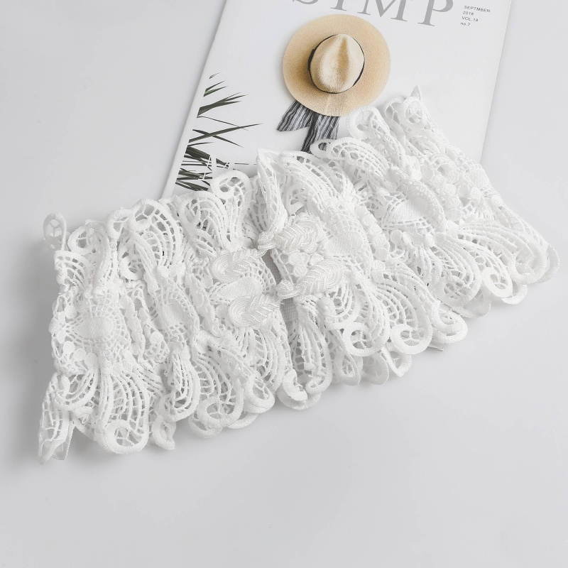Fashion womens lace waistband lace openwork ventilation super wide elastic embroidery belt skirt waist embroidery decoration