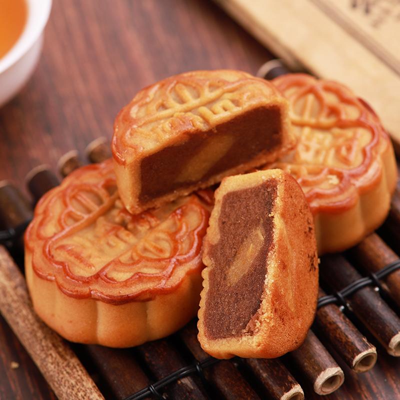 侨香村广式月饼40g 蛋黄莲蓉豆沙蛋黄老式中秋月饼传统手工非礼盒