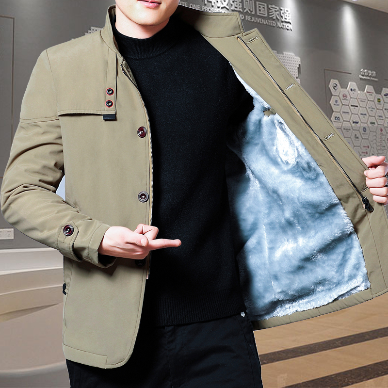 2019 jacket mens autumn and winter stand collar mens youth Plush thickened jacket mens autumn and winter casual business jacket