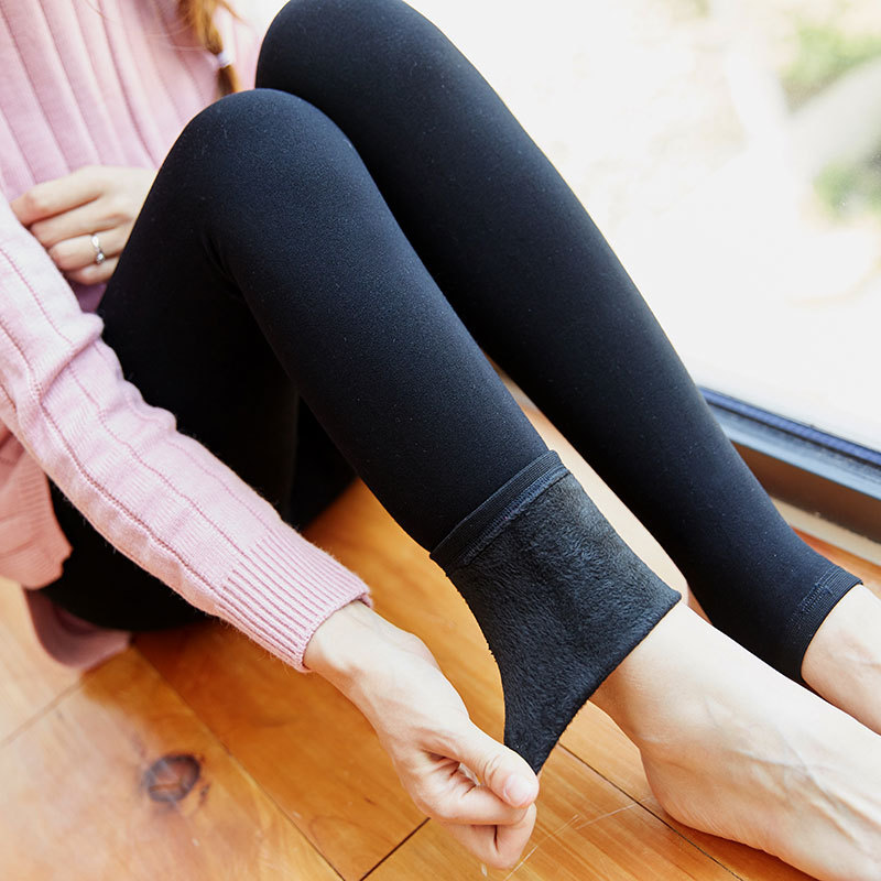 初春女装95棉龙爪毛加厚1200D平板踩脚连袜打底裤子女加绒