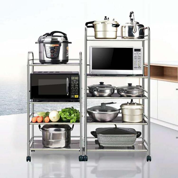 厂家直销三层收纳菜架 落地微波炉多层不锈钢厨房置物架家居用品