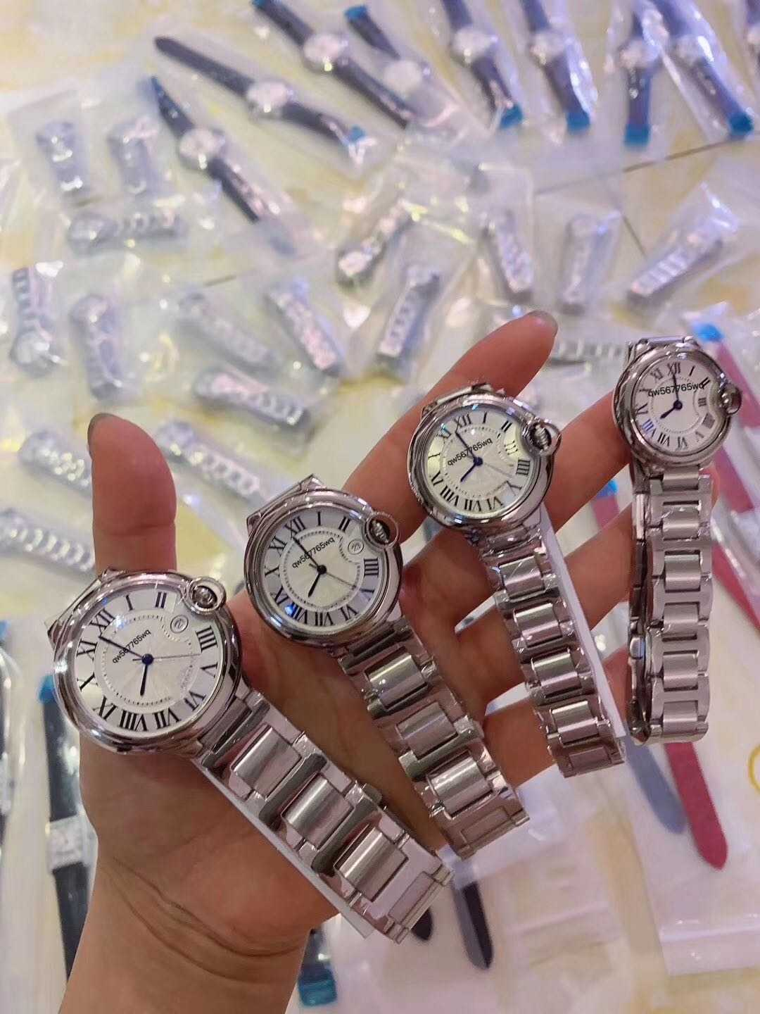 Watch customized mens and womens blue pointer steel band watch lovers quartz watch automatic machine
