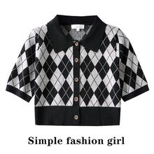 simple21夏新款复古格纹polo针织衫修身短款显瘦显腿长美式辣妹