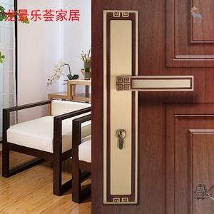 室内新中式全铜实木门大门锁静音纯铜仿古双开门入户门大号门锁