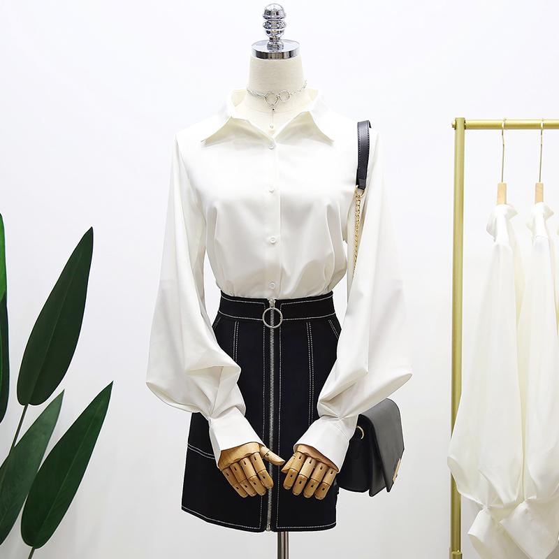 限10000张券朵奈惠设计感小众衬衫泫雅衬衣灯笼袖白色衬衫纯色翻领长袖衬衣女