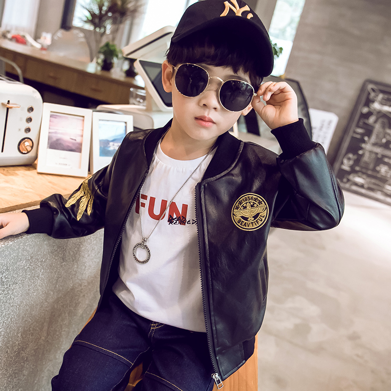 Childrens Plush coat childrens spring and autumn new boys spring coat middle school childrens handsome spring leather jacket