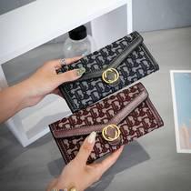 新款时尚女士钱包女长款时尚潮个姓手拿包三折叠搭扣大容量零钱包