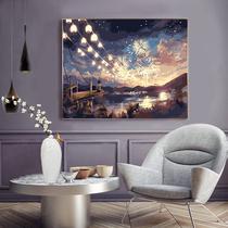 人物裝飾畫宮廷壁畫簡歐式客廳沙發背景墻面美式掛畫風景油畫大氣