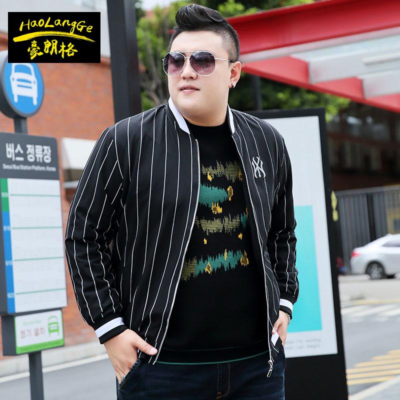 Fat mens jacket plus fat plus size spring and autumn coat fat guy super large baseball collar extra large jacket XXXXL