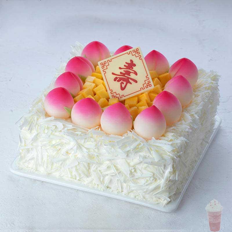 幸福西饼福寿绵绵生日蛋糕老人过寿蟠桃水果奶油西宁全国同城配送