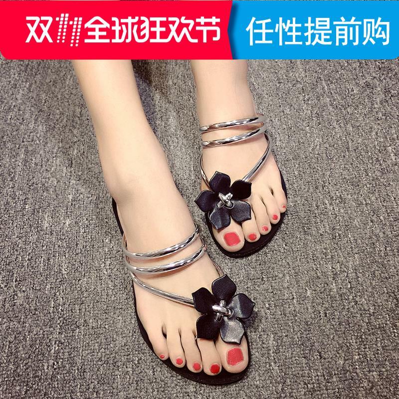 花朵人字拖甜美漆皮平底夹趾女鞋