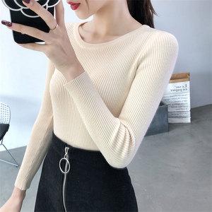 2020秋冬季新款韩版修身紧身长袖打底针织衫女洋气短款圆领毛衣女
