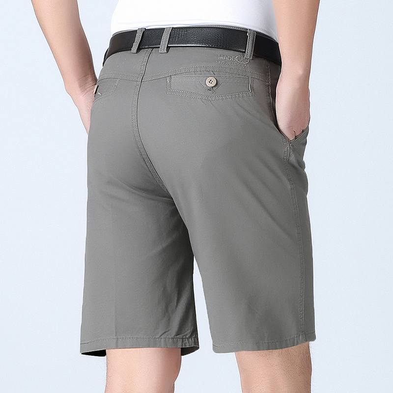 Cotton shorts 5-point pants summer thin middle-aged and elderly beach pants middle-aged mens casual pants suit mens