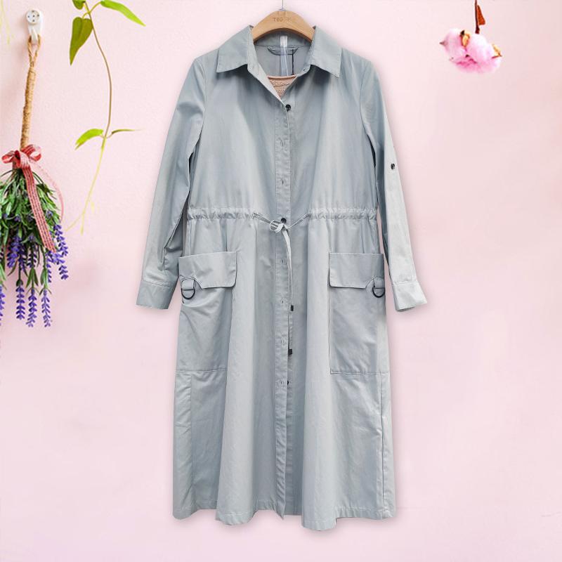 泰格服饰2020年秋装新款时尚风衣中长款女装通勤排扣纯色口袋长袖图片