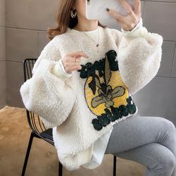 羊羔毛外套女秋冬2020新款假两件卫衣女加绒加厚韩版宽松大码上衣