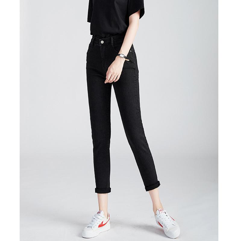 2020新款秋冬女装保暖定制面料高弹力牛仔裤女黑色显瘦修身小脚裤