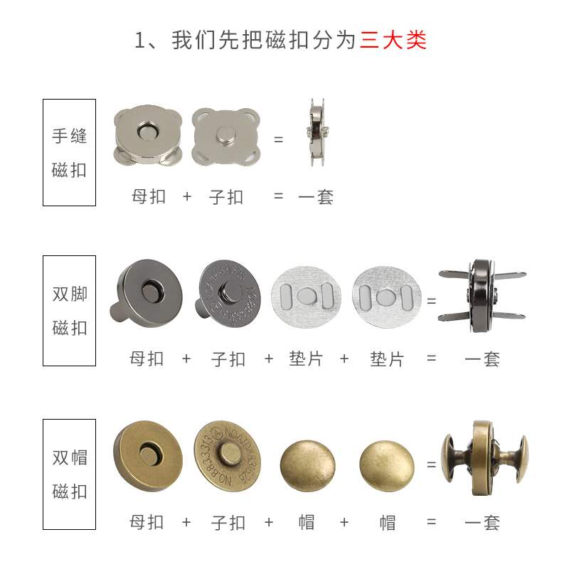 Metal WALLET suction cup bag buckle magnetic buckle magnet buckle bag accessories button lock