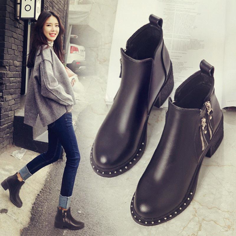 马丁靴女英伦风皮鞋秋季高跟女鞋