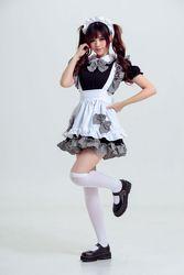 轻音女仆装cosplay女佣 餐厅女仆 万圣节服装 动漫演出服黑白女仆