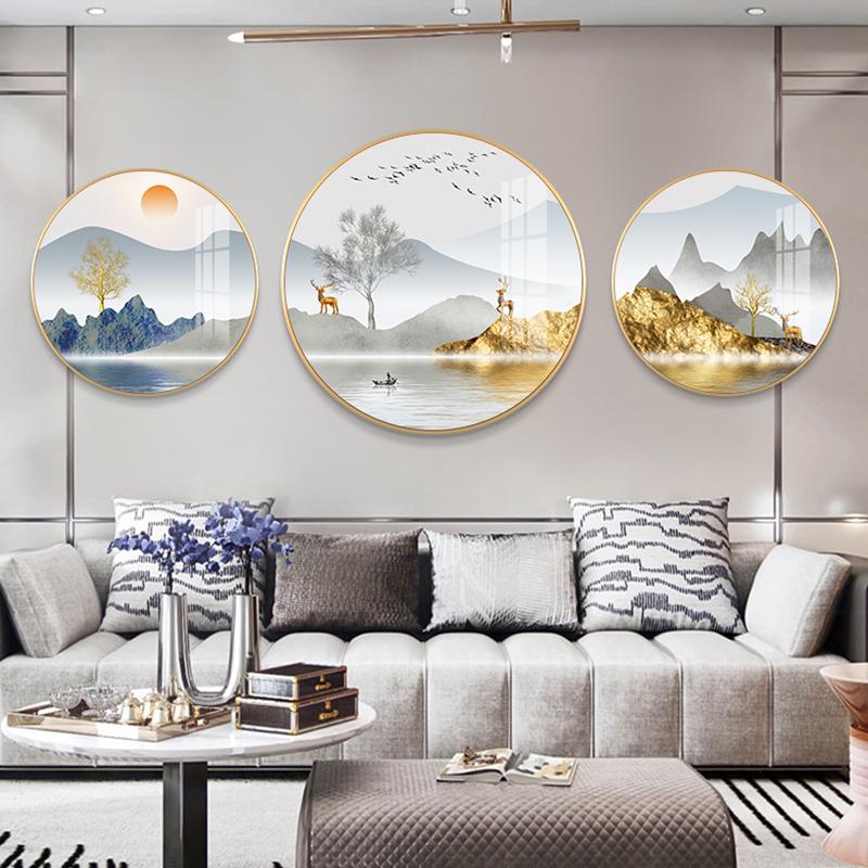 轻奢客厅装饰画新中式沙发背景墙圆形高档壁画大气山水三联画挂画