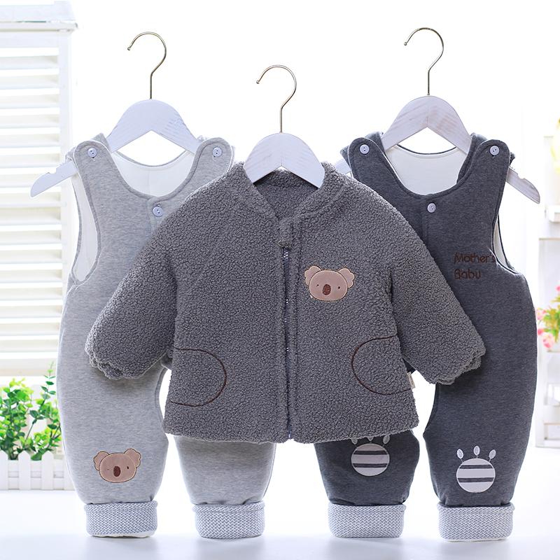 冬季婴幼儿加厚棉衣三件套宝宝包脚双背带裤0-1岁儿童夹棉衣套装